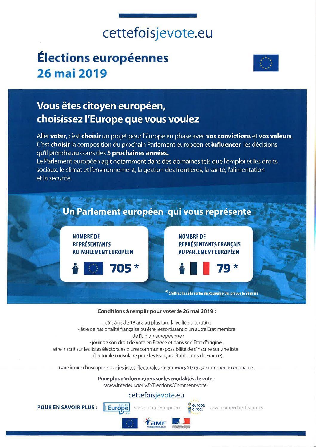 Informations élections européennes