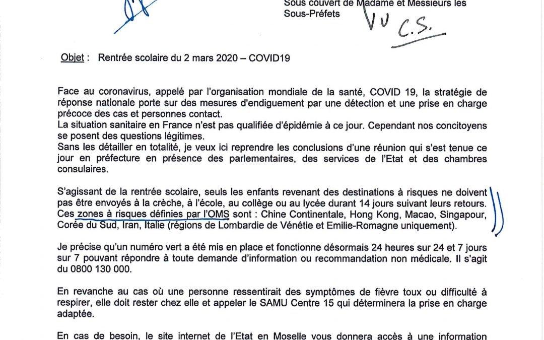Consignes préfectorales concernant la rentrée scolaire (Covid19)
